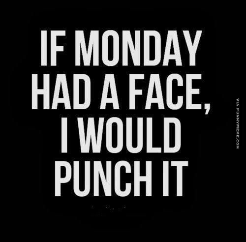 If Monday Had A Face I Would Punch It Funny Monday Meme